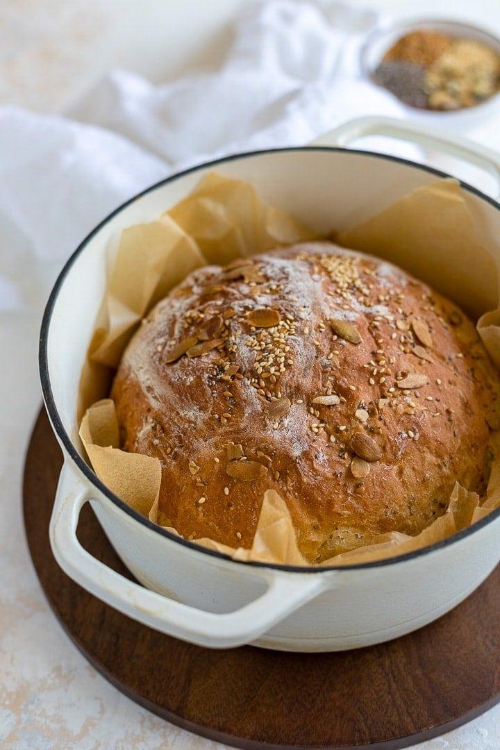 No Knead 4 Seed Dutch Oven Bread Nourish And Fete